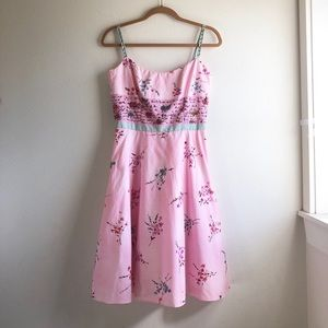 pink dress pin up style fit & flared midi size 6